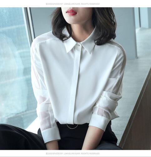 Women Business Casual Loose Long Sleeve Chiffon Button-Down Shirt Blouse Tops