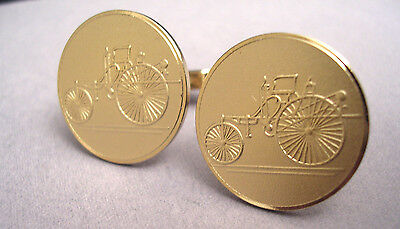 SET OF FABULOUS VINTAGE PENNY FARTHING CAR CUFFLINKS NEW OLD STOCK GOLD 22 mm