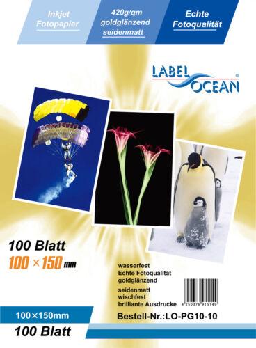 Fotopapier Gold 50 Blatt 10x15cm 420g//m² von LabelOcean