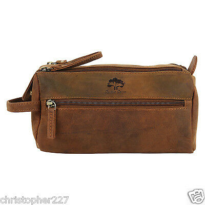 Mens Shave Shaving Grooming Wash Toiletries Leather Brown Suitcase Travel Bag