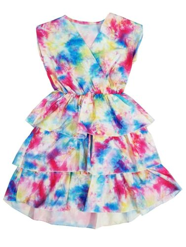 Kids Girls Tie and Dye Rainbow Party Playsuits Jumpsuits Romper Summer Outfit