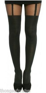 Ladies-Plus-Size-Mock-Stockings-Suspender-Tights-16-18-20-26-amp-28-32-Black