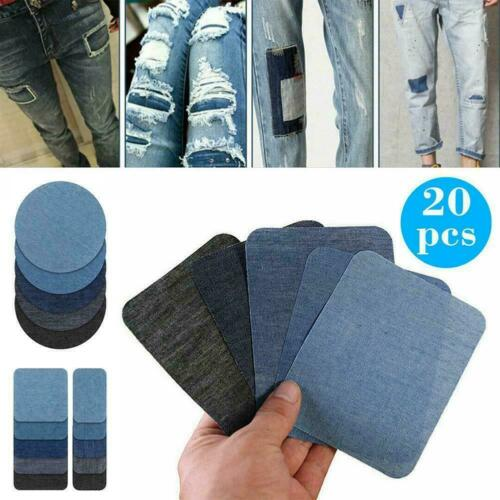 20Pcs Iron On Patches DIY Denim Fabric Patches For Clothing Jeans Kit D8Q8