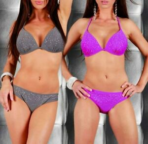 SeXy-Miss-Damen-Girly-Push-up-Neckholder-Bikini-Glitzer-Strass-34-36-grau-lila