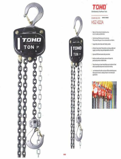 0.5 Ton, 20 Ft. Chain TOHO HSZ-622A OP Chain Block Hoist with Overload Protection