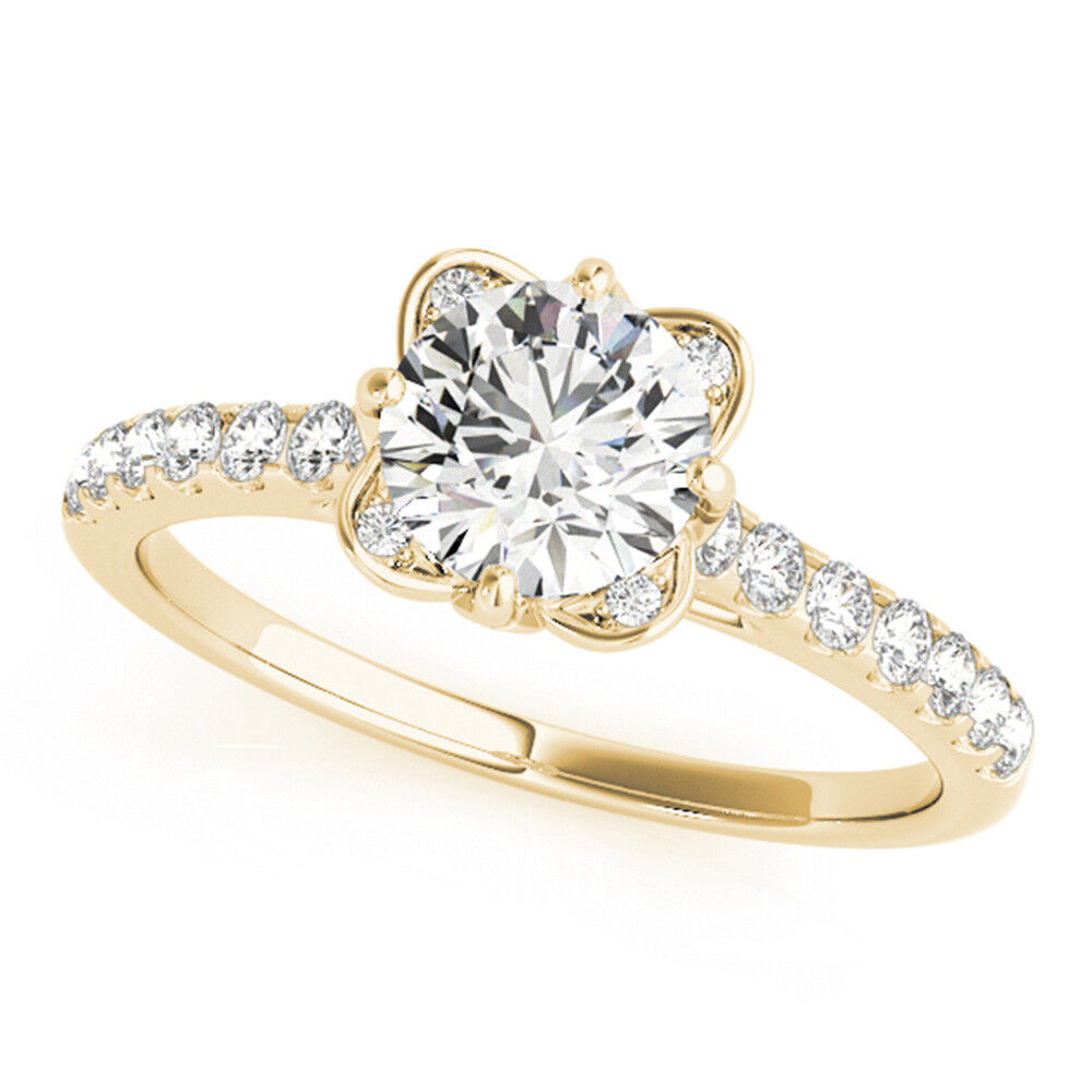 Diamond Wedding Engagement Ring Round 1.50 Ct 14K Yellow gold D VVS1 Size 5 6 7
