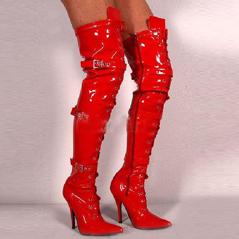 Para mujer Stilettos Tacón Alto Con Cordones en Punta Hebilla La Del Muslo Sobre La Hebilla Rodilla botas 24b99c