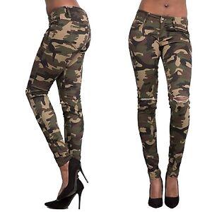 76c291f32f13 Sexy Women Camo Denim Skinny Pants High Waist Stretch Jeans Slim ...