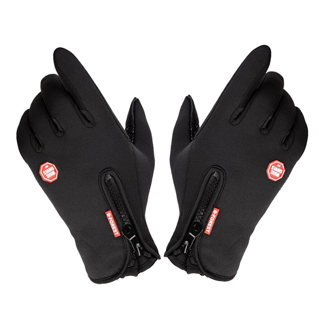 1 Pair Men's Gloves Thermal Warm Fleece Glove Touch Screen Mitten Black