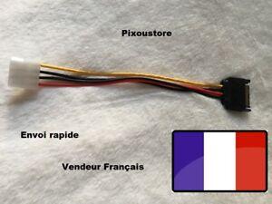Adaptateur SATA 15p mâle vers 1x Molex Femelle. Câble d'alimentation