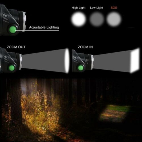 Led Headlamp 80000LM T6//L2 Zoomable Headlight Waterproof Torch Head Lamp