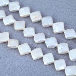 9-10mm-Blanc-Ivoire-Plat-Forme-Losange-Perles-D-039-eau-Douce