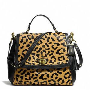 Coach Satchel nwt Flap Authentieke Leopard dames park F24986 Haircalf aXqwzwd