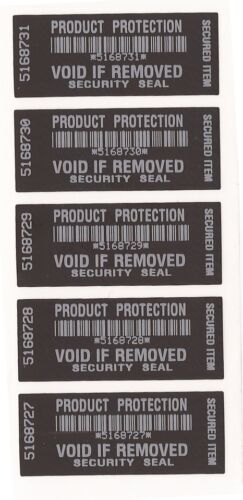 Black Product Protection label WARRANTY VOID OPEN Stickers Tamper Evident x 100