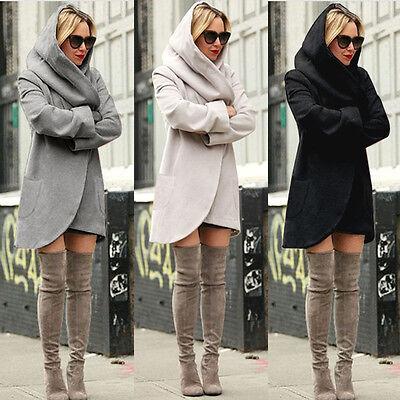 Damen Übergangsjacke Wasserfall Cardigan Sweatjacke Kapuzen Tasche Jacke S-XL