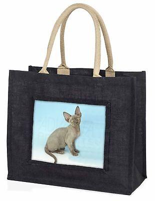 blau grau Devon Rex Kätzchen große schwarze Einkaufstasche WEIHNACHTEN