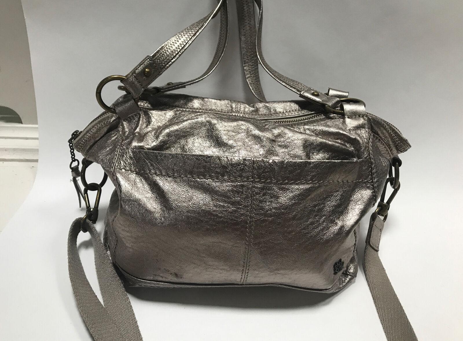The Sak Gold/Bronze Pebbled Leather Shoulder Bag with Detachable Crossbody Strap