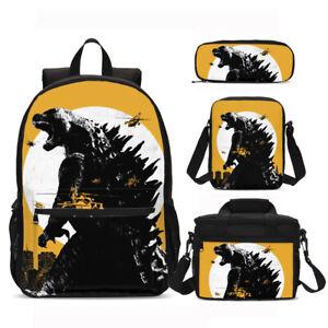 Godzilla-Children-School-Backpack-Set-Lunch-Bags-Sling-Bag-Pen-Case-Kid-Gift-Lot