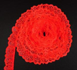 RED~1 1/4 Inch Wide Ruffled Candlewick Lace Trim~By 5 Yards