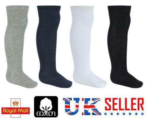 PQK 3 6 12 Girls Cotton Knee High Children Kids Plain School Socks Soft LONG UK