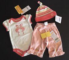 NWT Gymboree Tropical Oasis Up to 7 lbs Flamingo Bodysuit Pants & Stripe Hat