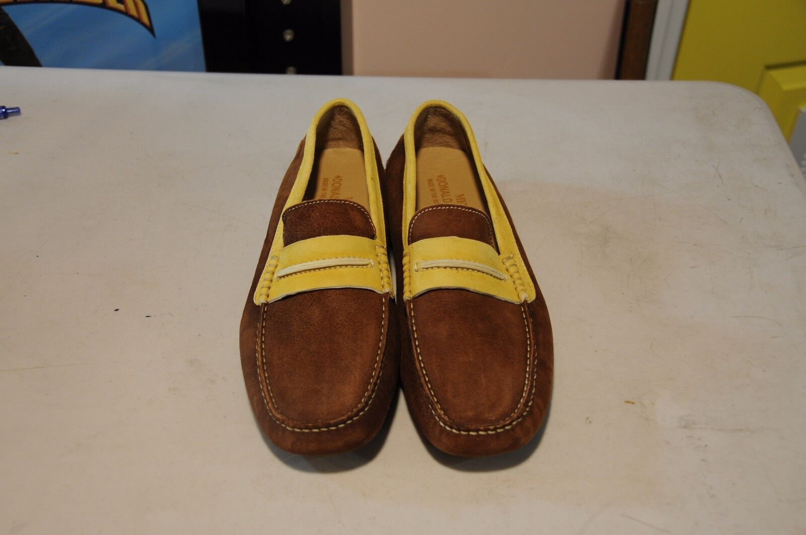 Donald J Pliner Men's Sz 9 M Brown Yellow Suede Driving Loafers shoes
