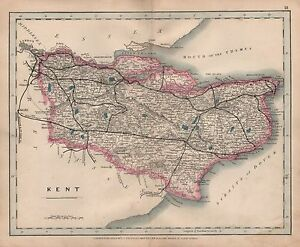 1875 ANTIQUE CRUCHLEY COUNTY MAP RAILWAYS STATIONS KENT FOLKESTONE