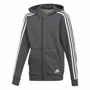 Details zu Adidas Essentials 3 Streifen Kapuzenjacke Kinder grau Trainingsjacke ESS NEU