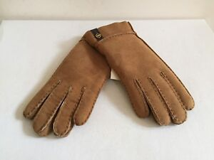 71a66e149 Image is loading UGG-WOMEN-TENNEY-CHESTNUT-SHEEPSKIN-CUFF-SUEDE-GLOVES-