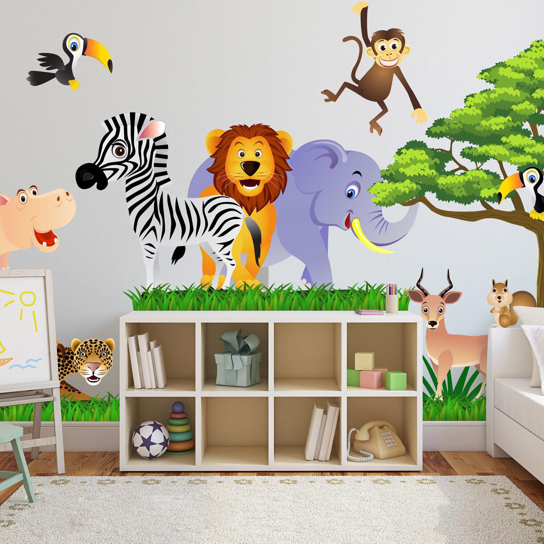 Wandtattoo Wandsticker Tiere Affe Wald Baum Spielzimmer Kinderzimmer Baby #124
