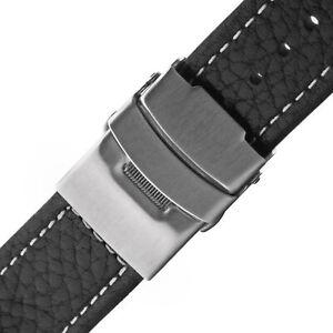 Uhrarmband-Faltschliesse-Leder-schwarz-POLJOT-22mm-Uhr-Armband-Band-Seitendruecker