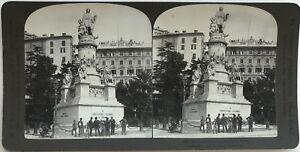 Genova-Di-fronte-la-Monumento-Cristoforo-Colombo-Fotografia-Stereo-Vintage