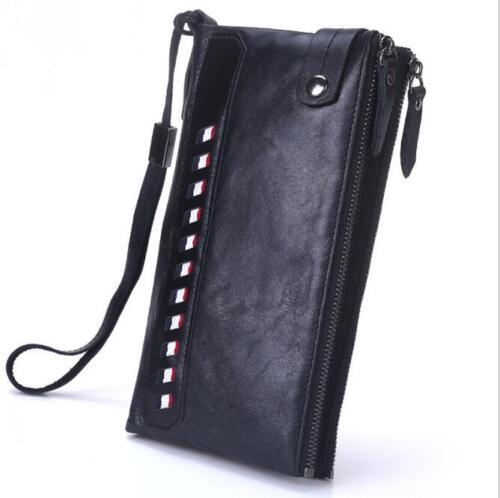Men/'s Genuine Leather Clutch Long Bifold Wallet Handbag Cowhide Card Case Purse