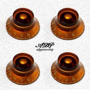Dynamique 4 Boutons Plexi Inch Size Hut-form Bell Knobs Tophat Vintage Ambre Lp Lespaul Sg Haut Niveau De Qualité Et D'HygièNe