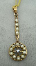 14K Gold Ceylon Sapphire Lavaliere with Pearls (#1096)