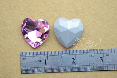 40 PCS 27mm Colour Glass Faceted Glass Heart Jewels