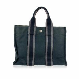 Hermes Borsa a Mano Vintage in Cotone Col. Nero Fourre Tout PM Tote Bag S
