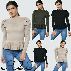 Women-039-s-Frilled-Puff-Long-Sleeve-Fashion-Casual-Tee-T-Shirt-Ladies-Jumper-Top-UK