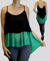 Women Plus Size Olive Green Black Spaghetti Strap Layered Top Sizes 1x 2x 3x