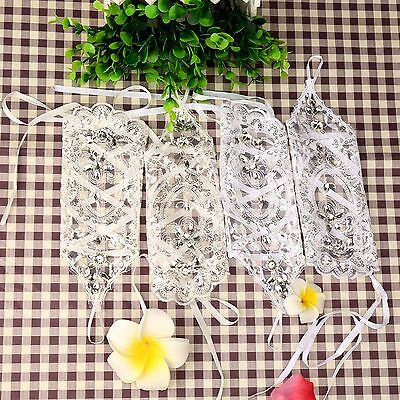 Crystal Lace Fingerless Wrist Gloves Bridal Wedding Party Dress Costume Supply