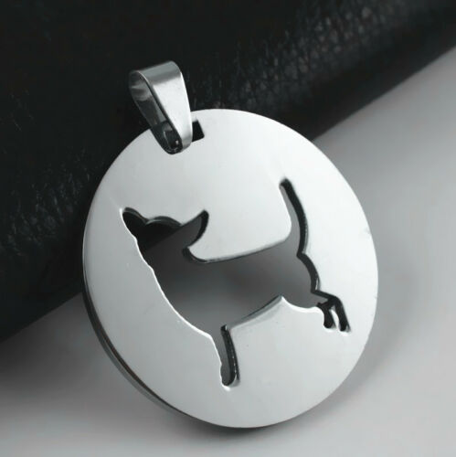 NEW Stainless Steel Round Shape Chihuahua Dog Pet Charm Pendant FREE Necklace