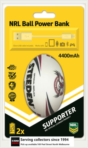 NRL Steeden Rechargeable Phone Charger Powerbank Sea Eagles--DUAL USB,4400 mAh