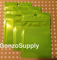 50pc Green 3x5 Ziplock Mylar Bags- Merchandise Storage Product Packaging Food