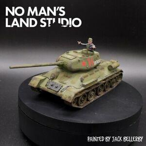PRO PAINTED 28mm BOLT ACTION sovietico T34 con serbatoio COMANDANTE WARLORD GAMES ww2