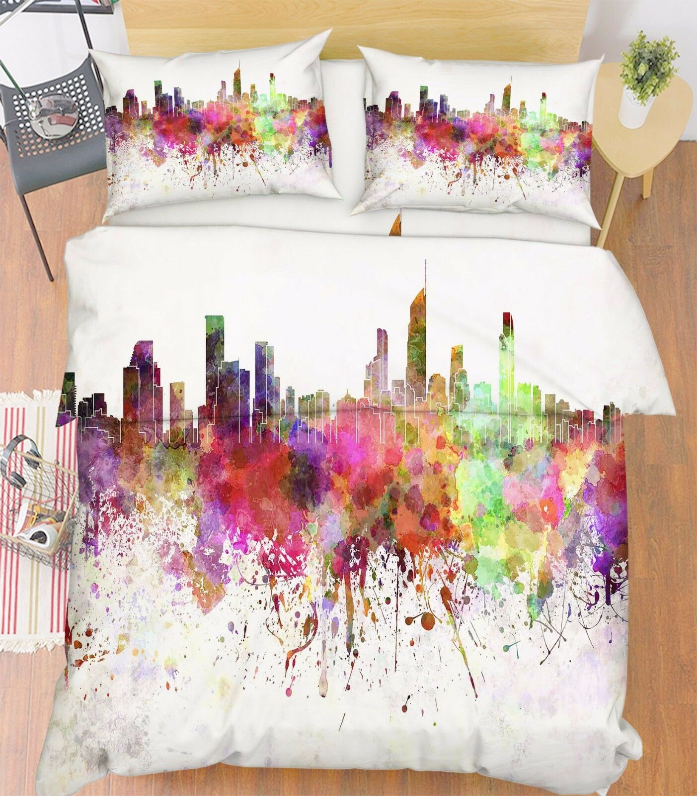 3D Paint City Sky 896 Bed Pillowcases Quilt Duvet Cover Set Single Queen UK Kyra