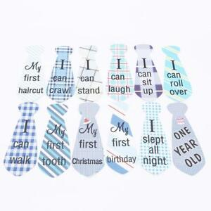 MONTHS IN MOTION Monthly Baby Sticker Tie Necktie BOY Milestone Month Photo Prop