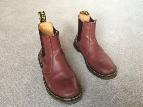 Doc martins cherry red smooth boots size 10 woman'