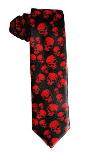 Necktie Tie red skull Fancy Dress Party Halloween