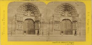 Angers-Cathedrale-France-Photo-Stereo-BK-Paris-Vintage-Albumine-ca-1870