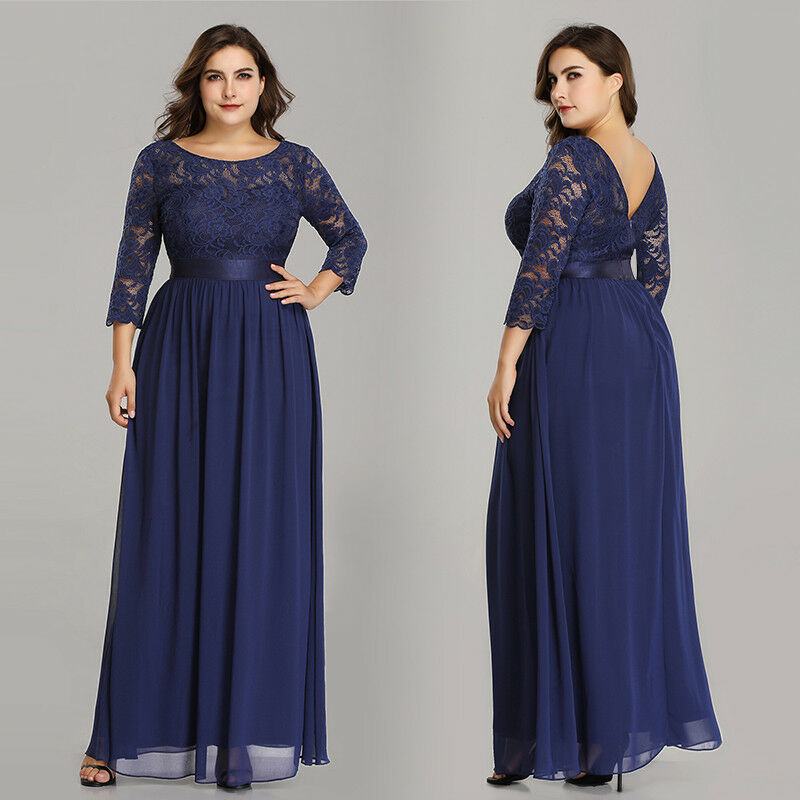 Ever-Pretty Plus Size 3 4 Sleeves Long Homecoing Dress Lace Party Dresses 07412